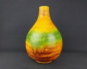 Gorgeous Vintage MARCELLO FANTONI Yellow Green Vase Italian Pottery 1960 1970