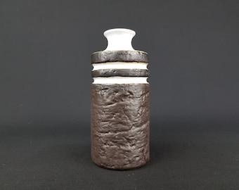 Vintage VEB HALDENSLEBEN Brown and White Fat Lava Vase 3087/C East German Pottery 1960