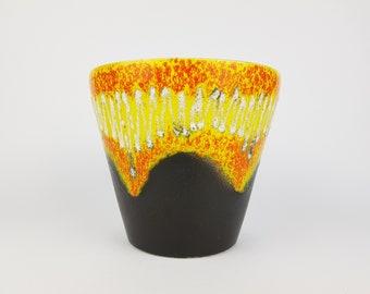 Vintage BAY KERAMIK Black Yellow Orange Fat Lava Planter Flower Pot 1970s