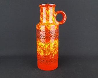 Vintage Orange Red and Yellow SCHEURICH KERAMIK Fat Lava Vase 401 28 West German Pottery  1970s