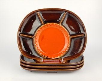 Vintage STEULER KERAMIK Brown and Orange Fondue/Gourmet/Dipping Plates 440 27 West German Pottery 1970s