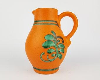 Vintage Orange and Green DUMLER UND BREIDEN Handled Vase 388 18 West German Pottery 1970s