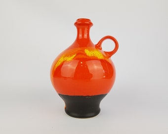 Vintage Super Orange and Yellow Handled HUTSCHENREUTHER Vase from Solar Serie by Renee Neue 1975