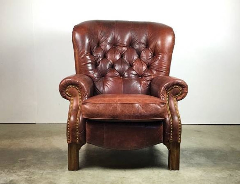 Cool Chandsome Tufted Leather Lounge Chair Recliner With Rivet Detailing Sold Spiritservingveterans Wood Chair Design Ideas Spiritservingveteransorg