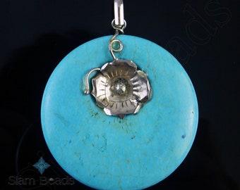1 PENDANT - Nepalese Artisan Handmade Turquoise Silver Plated Reversible Pendant 60mm NPA015