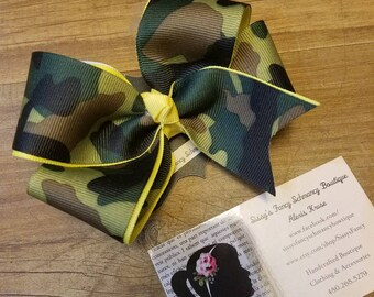 Camouflage boutique hair bow,  camo,  hair clip