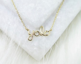 50d1e99a1 Gold Plated Tiny Yolo Necklace, Tiny Charm Necklace, Tiny Charms, Delicate  Charm Necklace 18K Gold Plated, minimalist Necklace