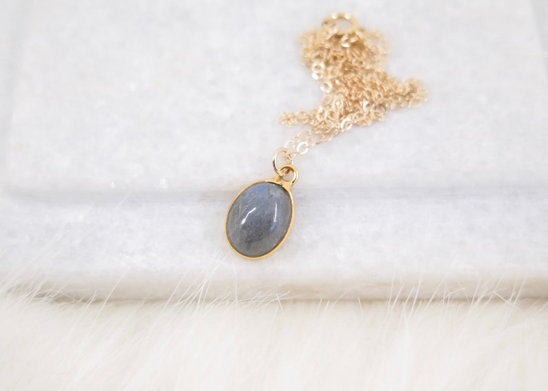 Oval Labradorite Pendant Necklace  Gold Edged Stone on 14k Gold fill Chain  Oval Shape Genuine Simple Gemstone Necklace  Dainty Necklace