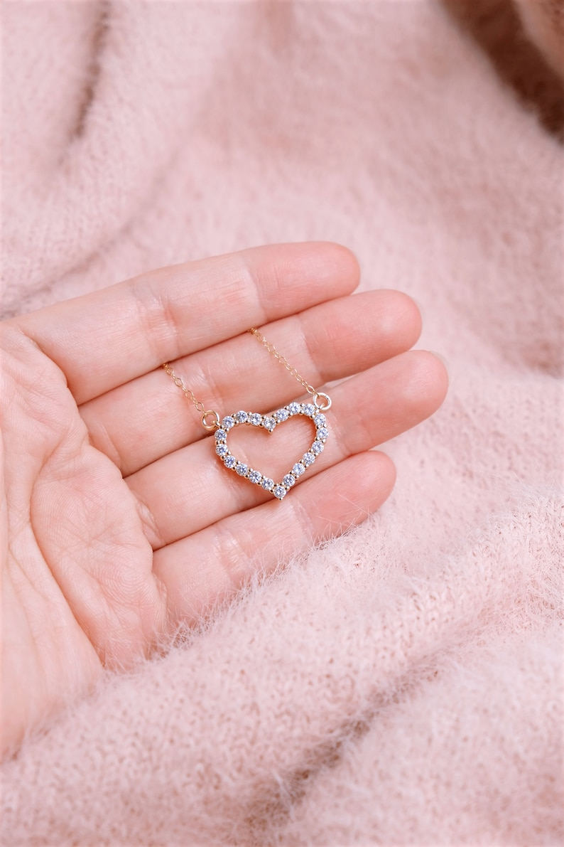 Heart CZ necklace layered necklace Valentines Gift Dainty necklace heart necklace Heart necklace gold jewelry 14K Gold Filled