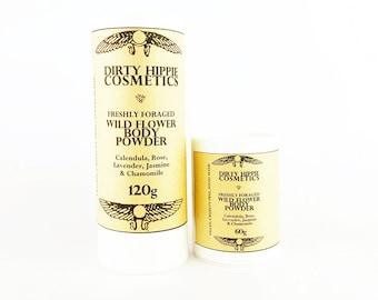 Wild Flower Body Powder • WILD FORAGED + ANTIBACTERIAL • Calendula, Rose, Lavender, Jasmine & Chamomile • 60g/120g
