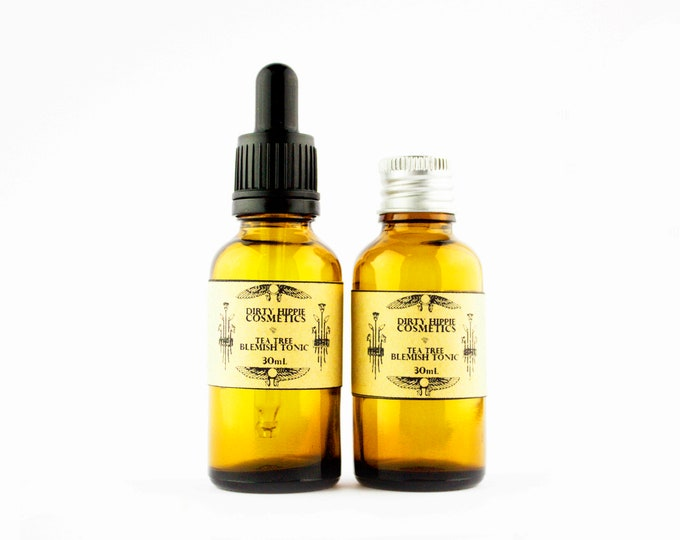 Tea-Tree Blemish Tonic • HEALING + ANTIBACTERIAL • Tea Tree, Eucalyptus, Clove, Calendula, Witch Hazel, Tamanu Oil, Glycerine • 30mL