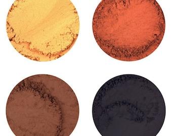 Mineral Eyeshadows • Honeysuckle, Terra Firma, Brown Leather, Carbon, Blue Sky, Indigo Child, Boys n' Berry, Antique Silver, Starlight • 4g