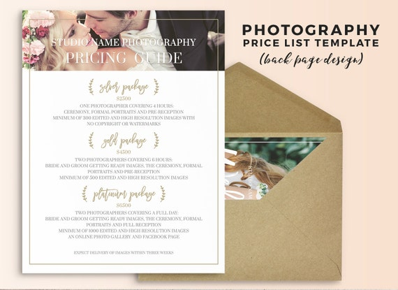 Photography Price List Template Wedding Pricing