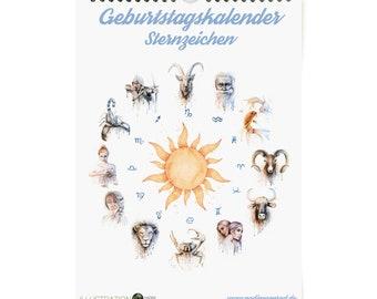 Birthday Calendar Zodiac, Wall Calendar, Calendar, Perpetual