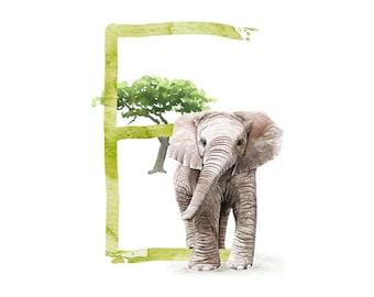 ABC card E like elephant, letters ABC, ABC cards
