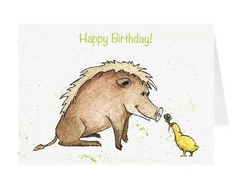 Birthday Card - Wild Boar and Duck
