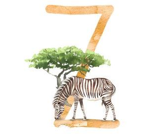 ABC card Z for zebra, letters ABC, ABC cards