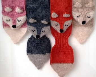 Kids winter scarf Fox hand knit - fun, soft, warm, cute and cuddly childrens scarf. Available in several colors. Also for adults.