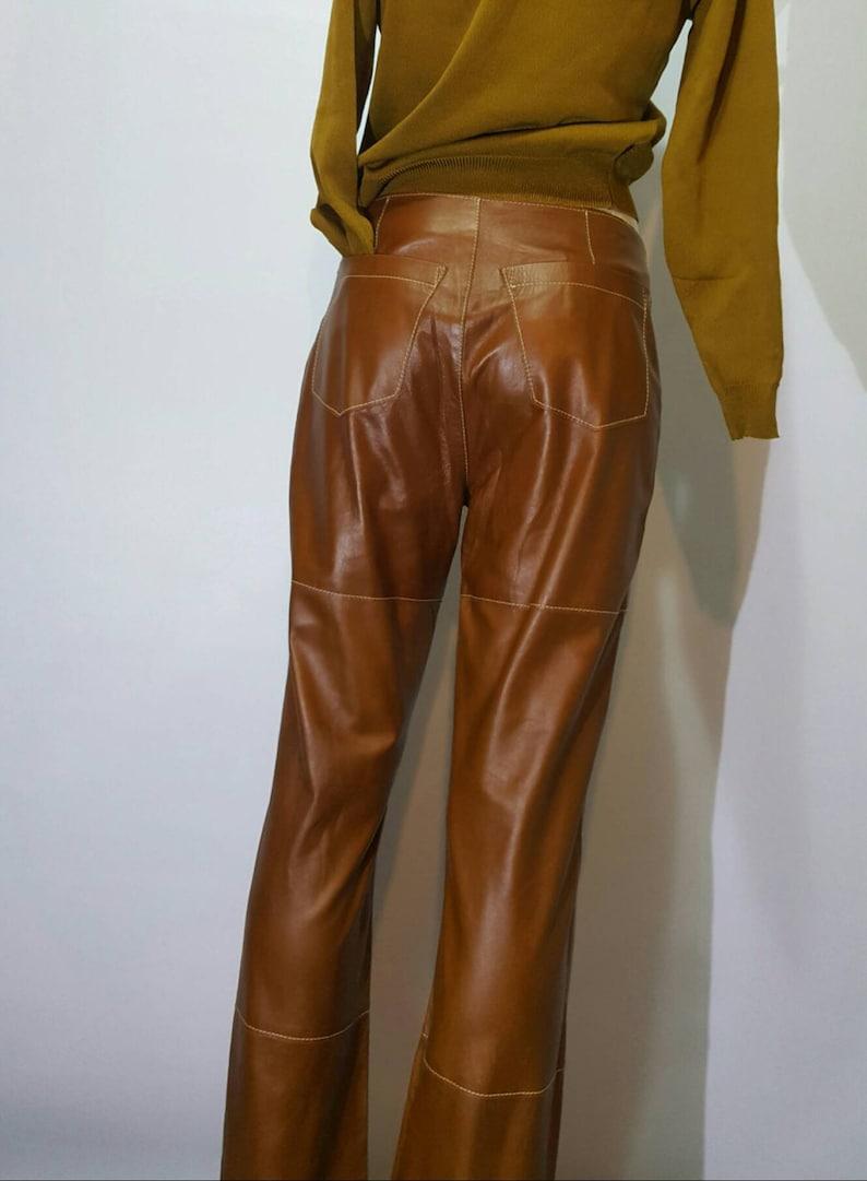 F Gallotti leather long pants italian manufacture real artigianal work vintage  medium high waist back pocket beautiful contrast stiches