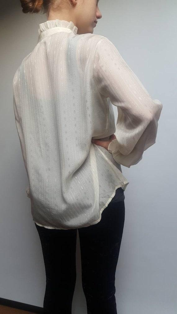 White vintage blouse made by Primavera Firenze ru… - image 6