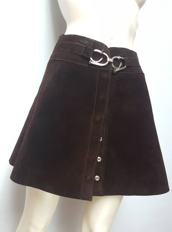 Unique 60s suede mini skirt press buttons front ha