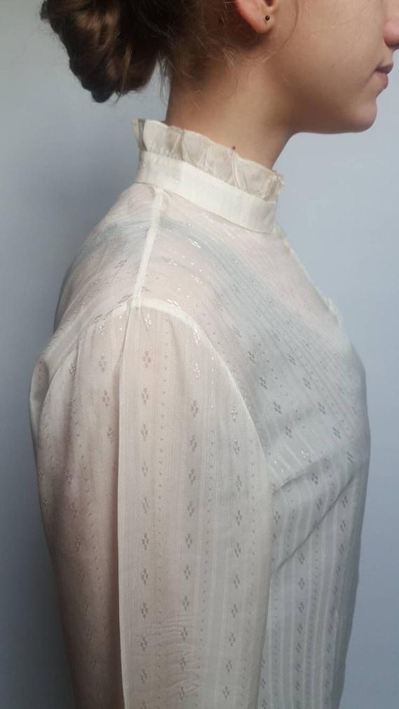 White vintage blouse made by Primavera Firenze ru… - image 8