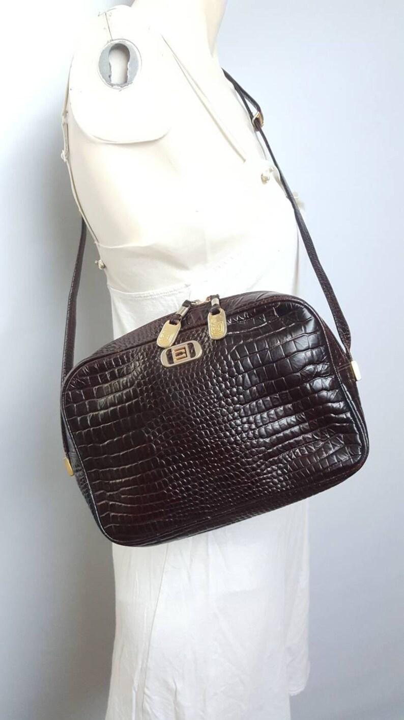 19443ca4b58 Carlotta vintage krokodil leatherbag bohochic stijl donkere | Etsy