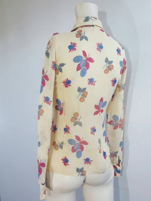 50s vintage cotton abstract pattern blouse ruffled collar buttons front transparent light material L XL size good preloved condition vtg top