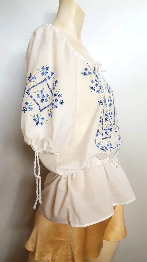 30s cotton white blouse whit hand embroided folk f