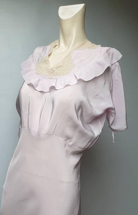 Vintage 40s saten silk robe embroideri and lace de