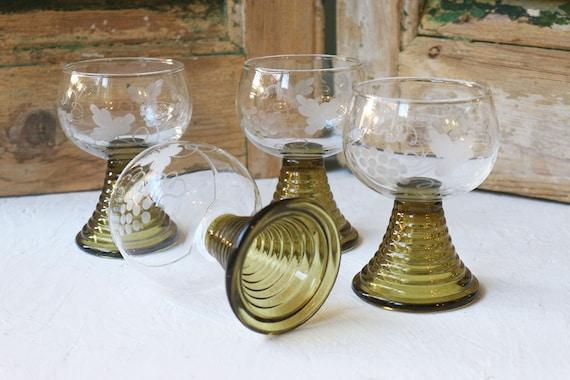 4 Vintage Roemer Glasses, Goblets, Wine Glasses