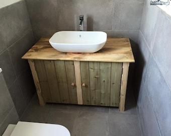rustic wooden vanity unit 75 cm wide