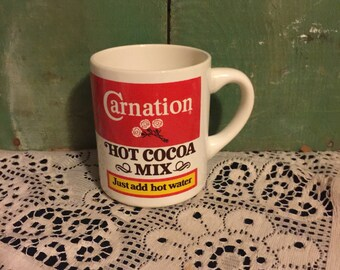 Carnation Hot Cocoa Mix Cup; Vintage Cocoa Mug; Collectible Carnation Mug Made in the USA; Vintage Carnation