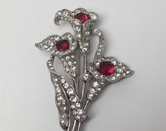 Vintage Crown Trifari Spaney Ruby Red Rhinestone Calla Lily Flower Pin Brooch