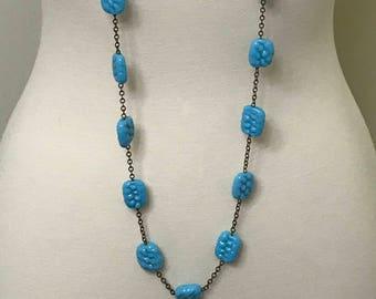 Vintage Flapper Art Deco Czech Blue Glass Long Necklace
