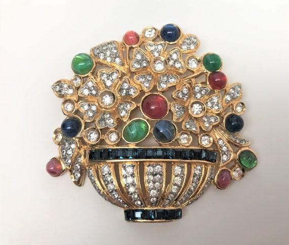 Large 1980/'s Signed VOGUE Bijoux Rhinestone Flower Pin