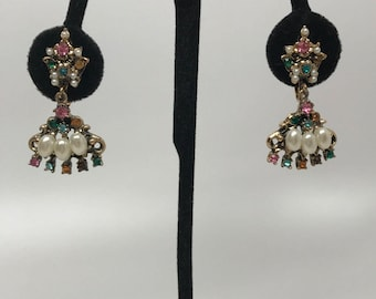 Vintage Antique Gold Tone & Faux Pearl Rhinestone Dangle Earrings