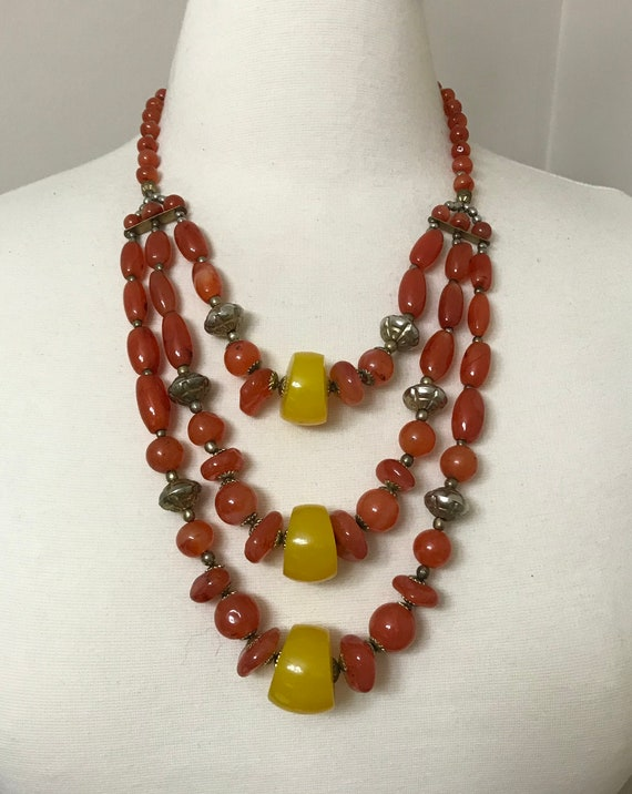 Gorgeous Multi Strand Vintage Amber Resin Necklace