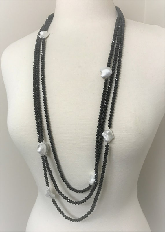 Beautiful Black Faceted Glass 3 Strand Necklace UPCYCLED into a Reversible Diamond Shape Pendant Neck and Earring 3 in 1 Set..1495h...OOAK