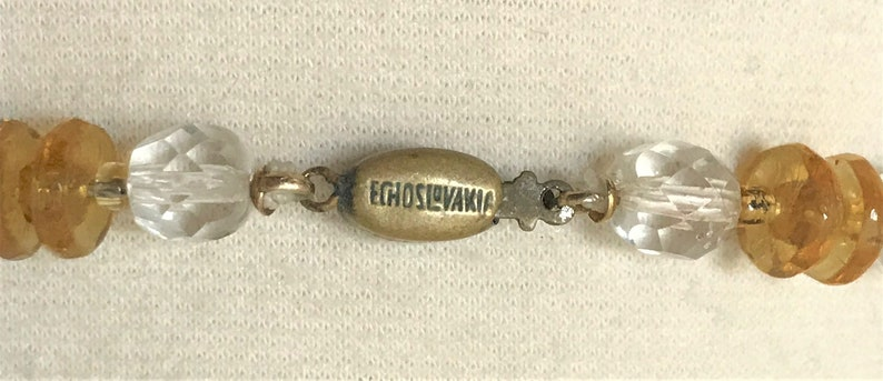 Vintage Czech Glass Long Necklace Marked On The Clasp
