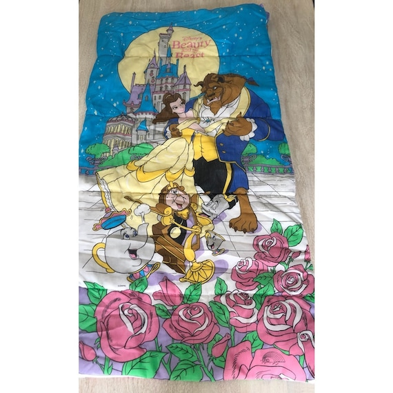 size 40 5d1e8 3d4c9 Vintage Beauty and the Beast Sleeping Bag Disney Kids Sleeping Bedding 1990s