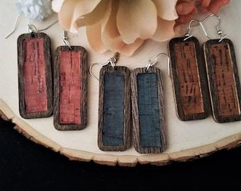 Cork earrings, wood earrings, handmade earrings, handmade jewelry, gift for her, rustic jewelry, wood jewelry, jewelry gifts, gift for mom