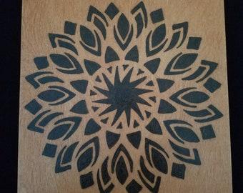 Home decor, flower decor, rustic art, wood burning, mixed media, art for the home, housewarming gift, wood decor, wood art, geometric art