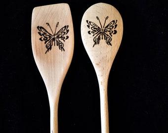 Wood burn spoons, butterfly decor, wood spoon, kitchen utensil, cooking spoon, baking spoon, farmhouse decor, rustic decor, butterfly design