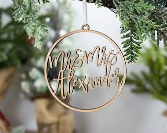 Wedding Gift For Couple Wedding Christmas Ornament Newlywed Gift Personalized Wedding Ornament Newly Wed Gifts Flamingo Wedding