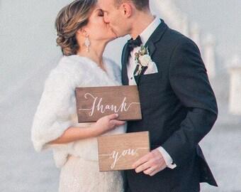 Wedding Thank You Signs- Wedding Photo Prop- Wooden Wedding Signs- Rustic Wedding Decor- Woodland Wedding Decor- Wedding Signage