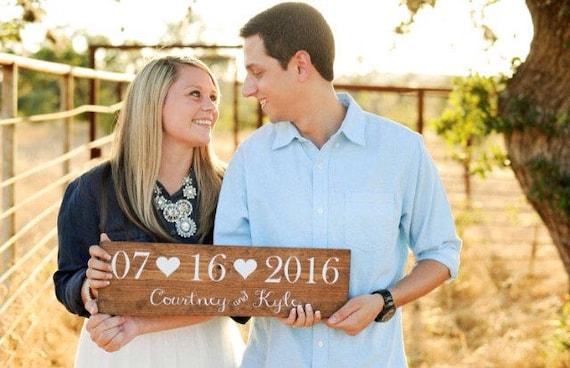 Bridal Shower Gift Engagement Gift Wedding Date Sign Save Etsy
