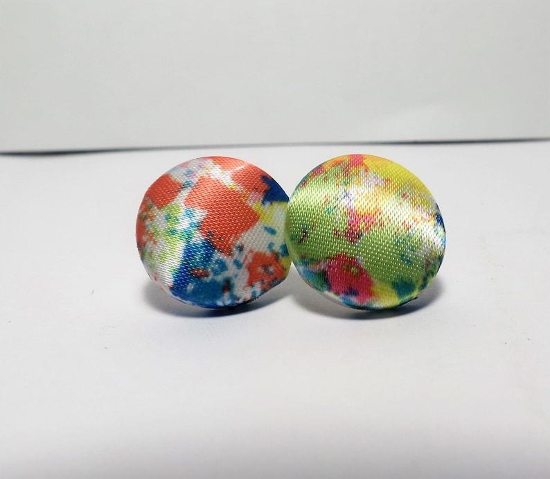 Tie Dye Handmade Button Earrings