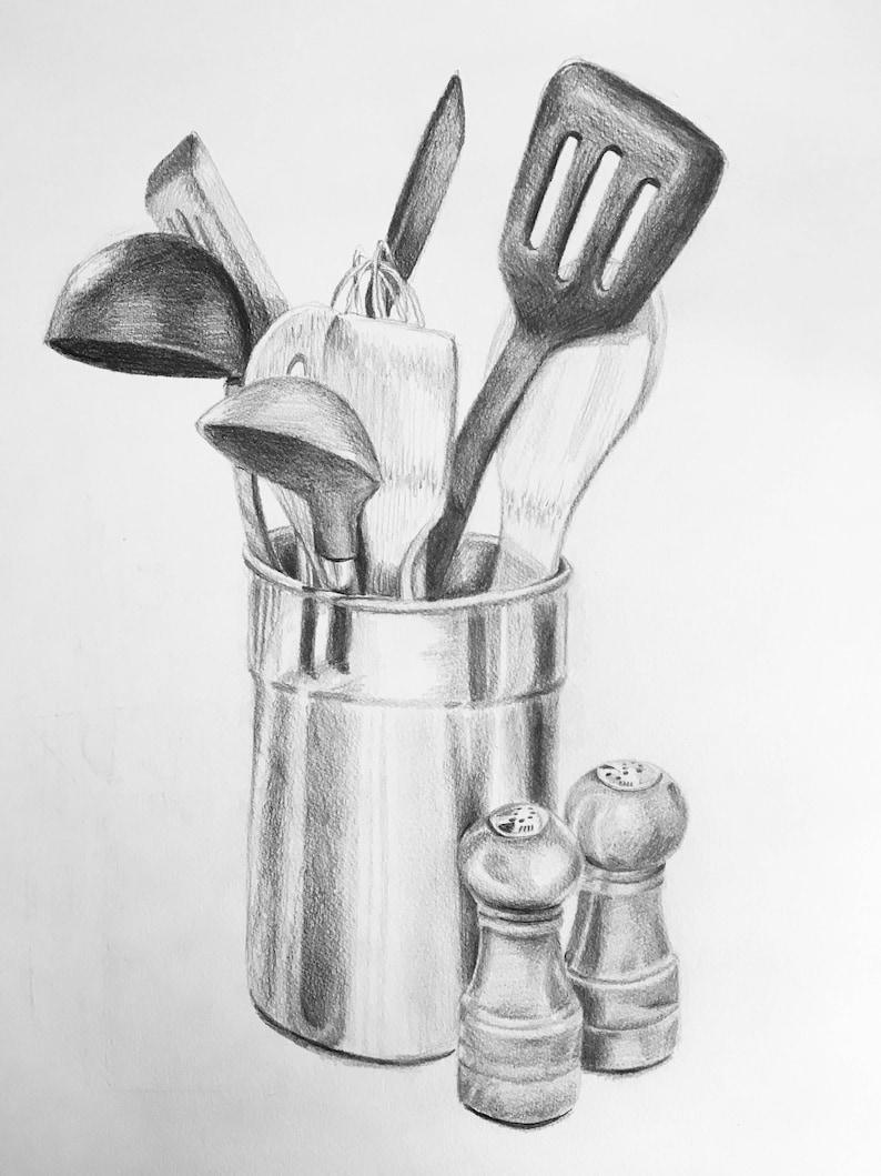 Kitchen Utensil Sketch In Pencil Etsy