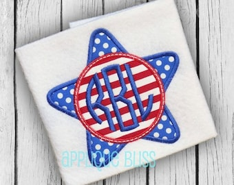 Monogram Star Applique Design - Independence Day - July 4th - 4th of July - Monogram Star Embroidery Design - Patriotic - Freedom